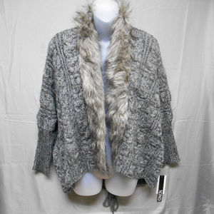 NWT XOXO gray black faux fur cardigan sweater M